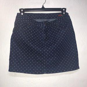 blue and white polka dot jean skirt